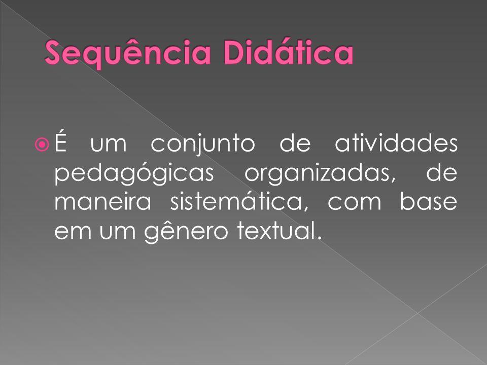 Sequência Didática É um conjunto de atividades pedagógicas organizadas, de maneira sistemática, com base em um gênero textual.