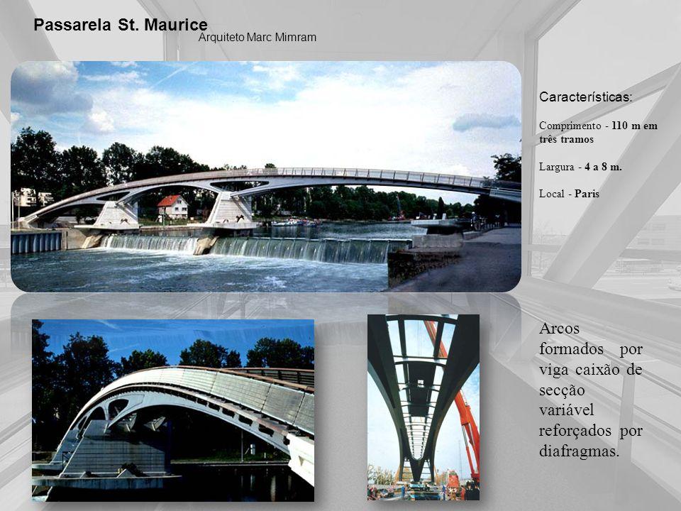 Passarela St. MauriceArquiteto Marc Mimram. Características: Comprimento - 110 m em três tramos. Largura - 4 a 8 m.