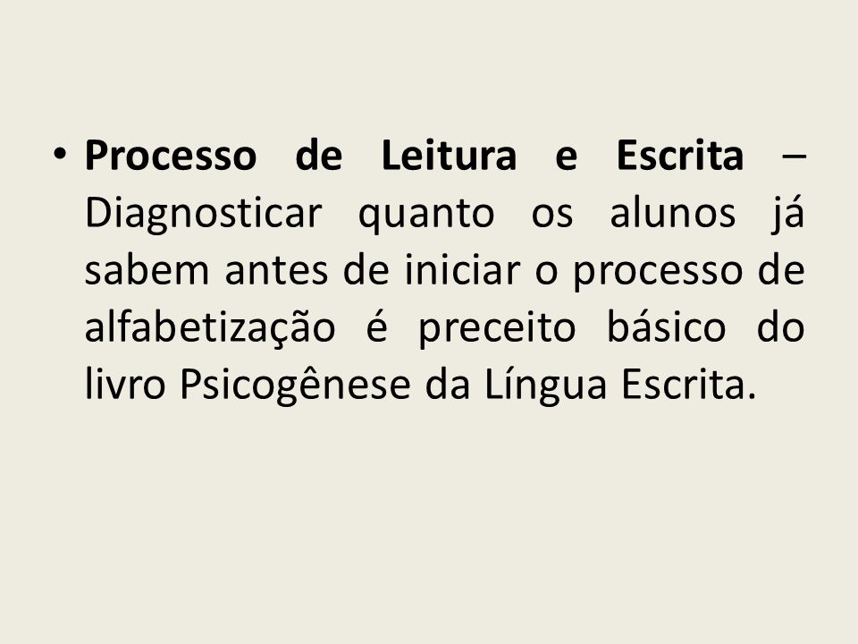 Processo de Leitura e Escrita – Diagnosticar quanto os alunos já sabem antes de iniciar o processo de alfabetização é preceito básico do livro Psicogênese da Língua Escrita.