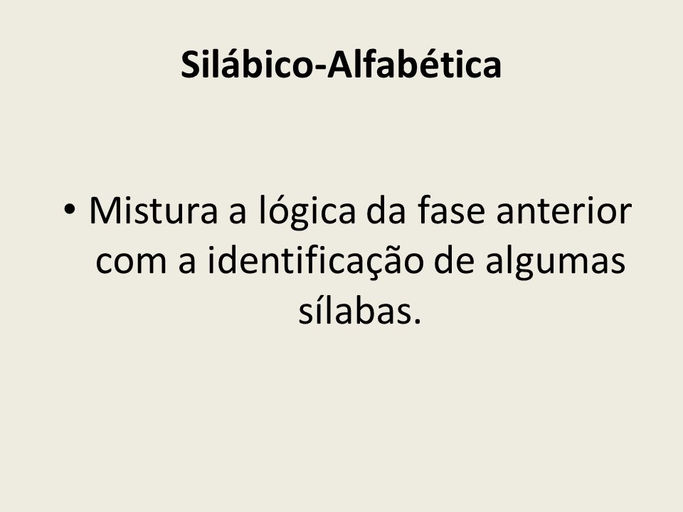 Silábico-Alfabética Mistura a lógica da fase anterior com a identificação de algumas sílabas.