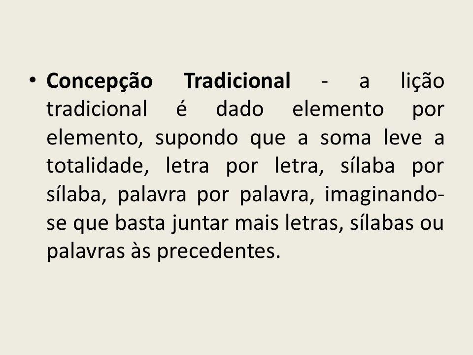 Concepção Tradicional - a lição tradicional é dado elemento por elemento, supondo que a soma leve a totalidade, letra por letra, sílaba por sílaba, palavra por palavra, imaginando-se que basta juntar mais letras, sílabas ou palavras às precedentes.