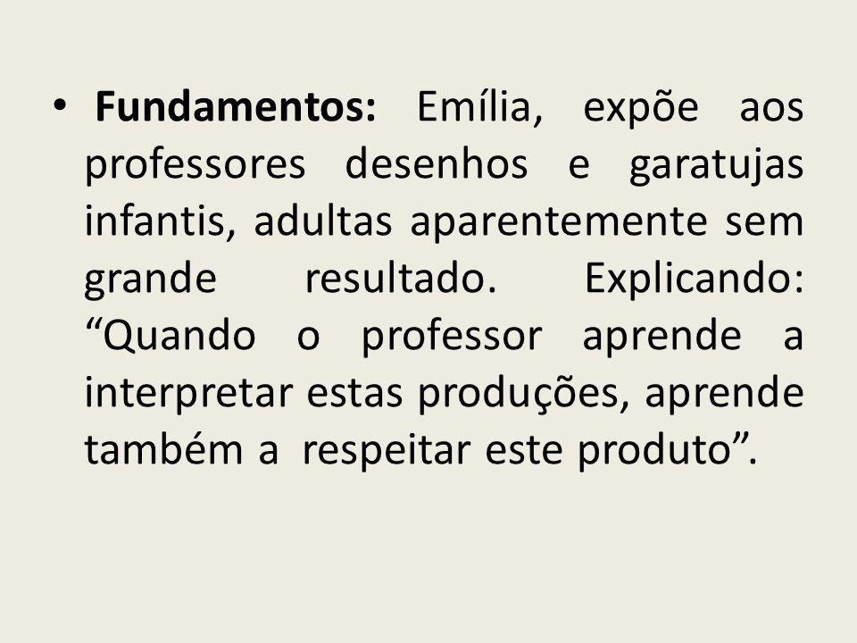 Fundamentos: Emília, expõe aos professores desenhos e garatujas infantis, adultas aparentemente sem grande resultado.