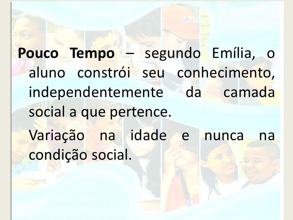 Pouco Tempo – segundo Emília, o aluno constrói seu conhecimento, independentemente da camada social a que pertence.