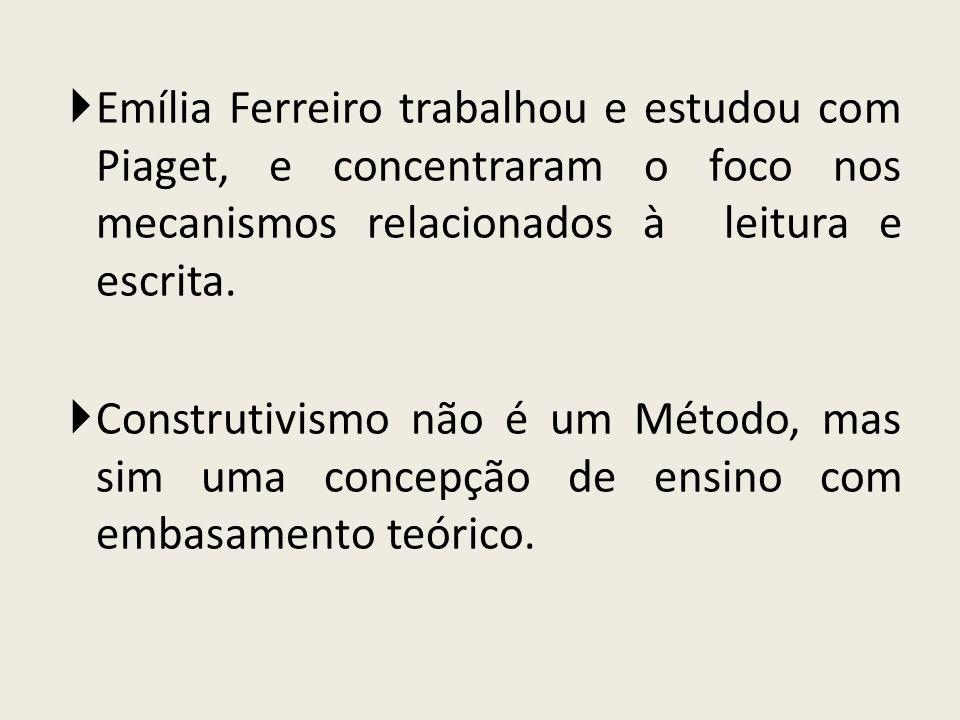 Emília Ferreiro trabalhou e estudou com Piaget, e concentraram o foco nos mecanismos relacionados à leitura e escrita.