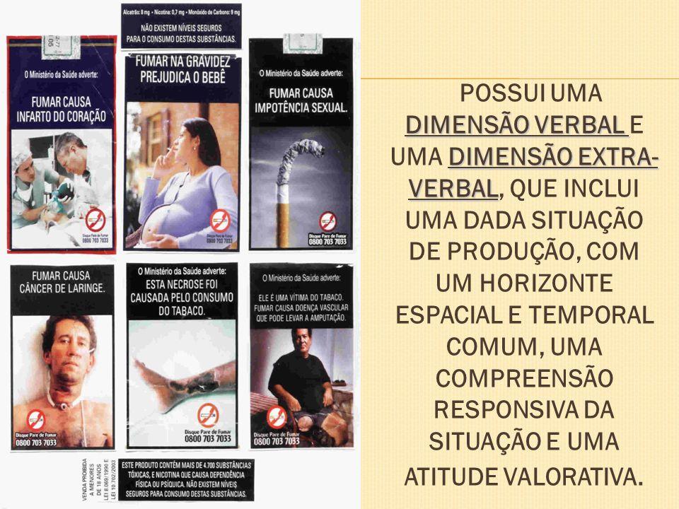 POSSUI UMA DIMENSÃO VERBAL E UMA DIMENSÃO EXTRA-VERBAL, QUE INCLUI UMA DADA SITUAÇÃO DE PRODUÇÃO, COM UM HORIZONTE ESPACIAL E TEMPORAL COMUM, UMA COMPREENSÃO RESPONSIVA DA SITUAÇÃO E UMA ATITUDE VALORATIVA.