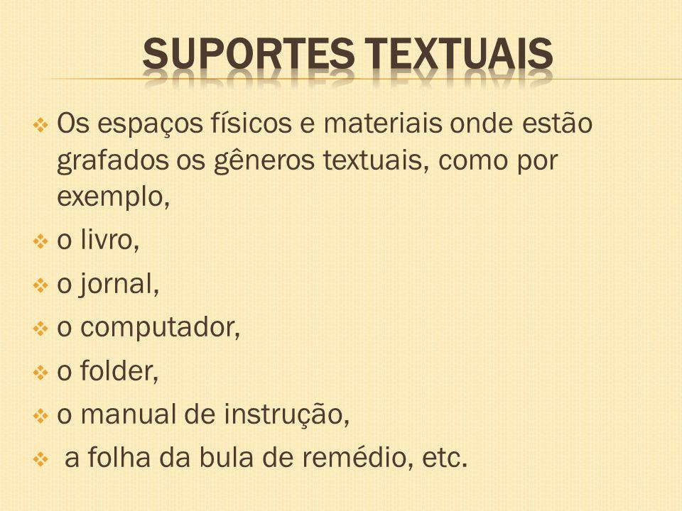 SUPORTES TEXTUAISOs espaços físicos e materiais onde estão grafados os gêneros textuais, como por exemplo,