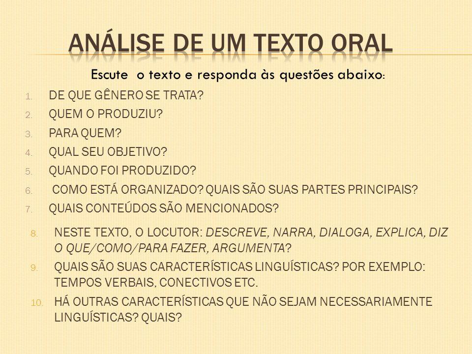 Análise de um texto oral