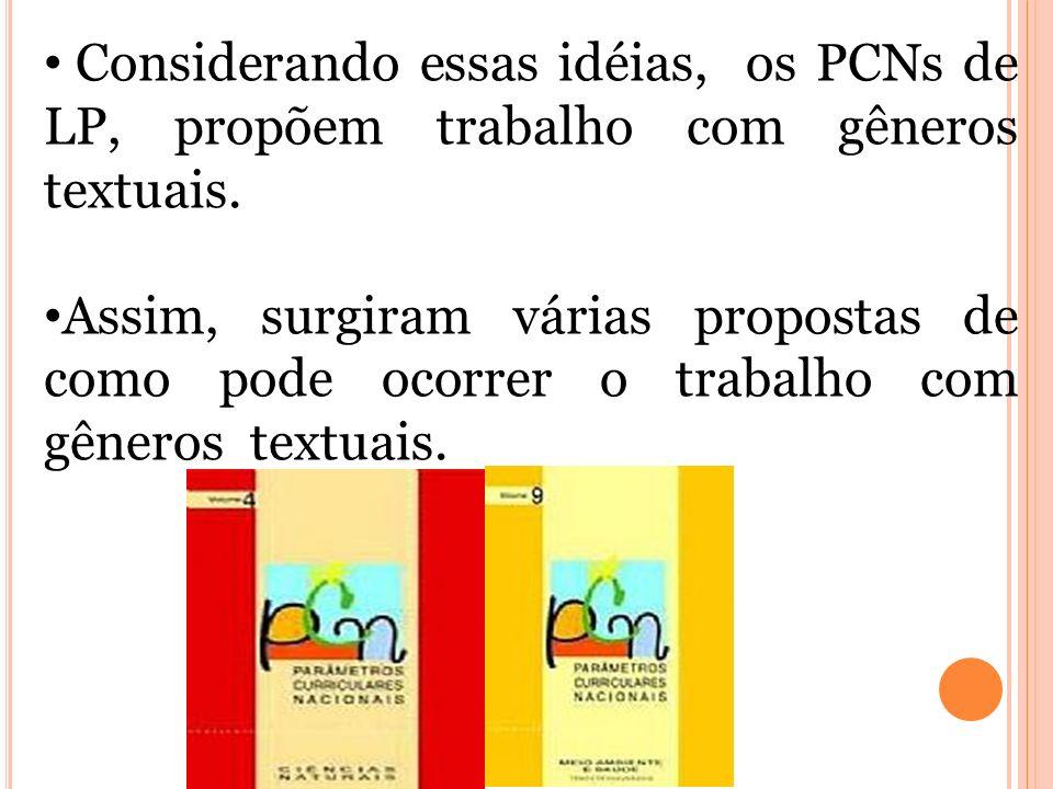 Considerando essas idéias, os PCNs de LP, propõem trabalho com gêneros textuais.