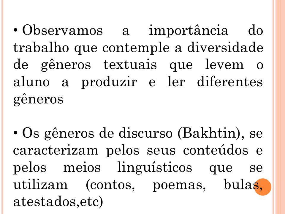Observamos a importância do trabalho que contemple a diversidade de gêneros textuais que levem o aluno a produzir e ler diferentes gêneros