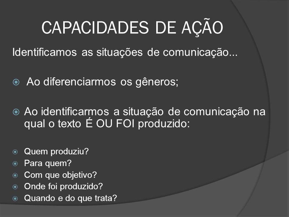 CAPACIDADES DE AÇÃO Identificamos as situações de comunicação...