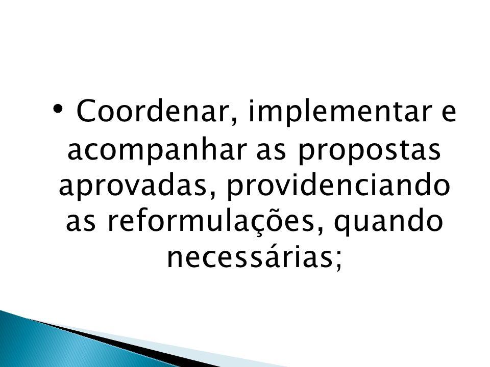 Coordenar, implementar e acompanhar as propostas aprovadas, providenciando as reformulações, quando necessárias;