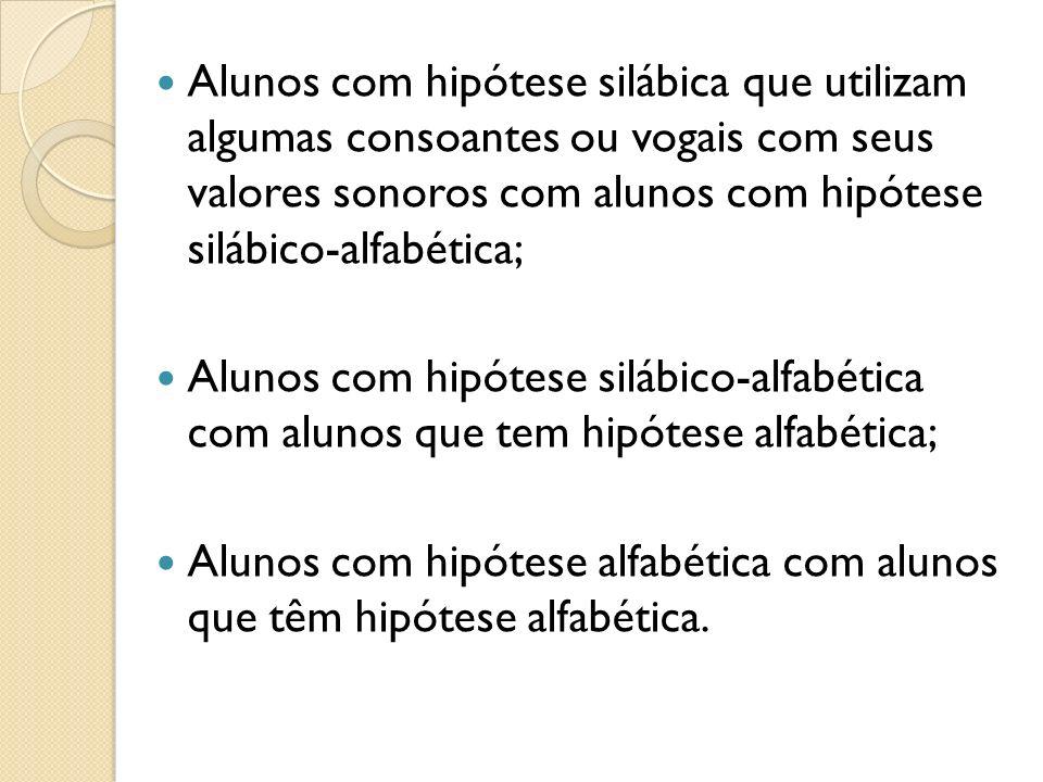 Alunos com hipótese silábica que utilizam algumas consoantes ou vogais com seus valores sonoros com alunos com hipótese silábico-alfabética;