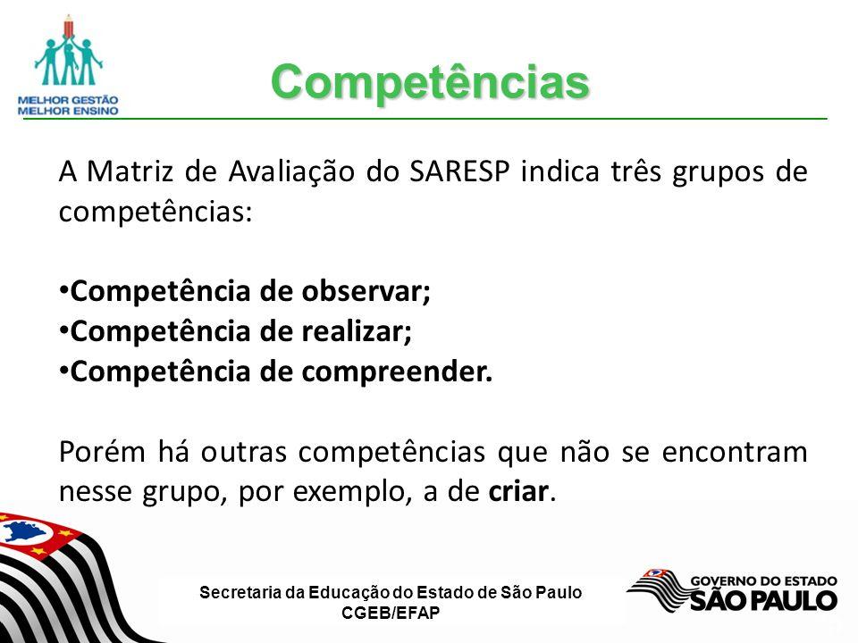 Competências A Matriz de Avaliação do SARESP indica três grupos de competências: Competência de observar;