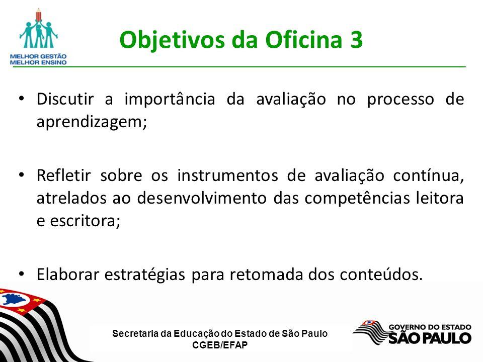 Objetivos da Oficina 3 Discutir a importância da avaliação no processo de aprendizagem;