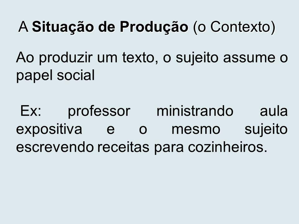 A Situação de Produção (o Contexto)