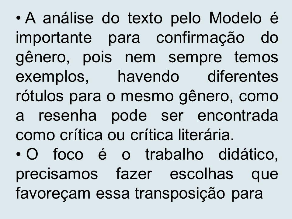 A análise do texto pelo Modelo é importante para confirmação do gênero, pois nem sempre temos exemplos, havendo diferentes rótulos para o mesmo gênero, como a resenha pode ser encontrada como crítica ou crítica literária.
