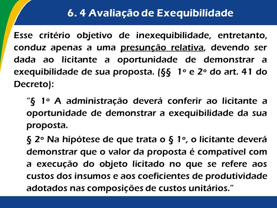6. 4 Avaliação de Exequibilidade