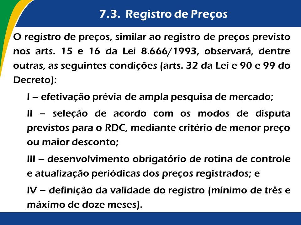 7.3. Registro de Preços
