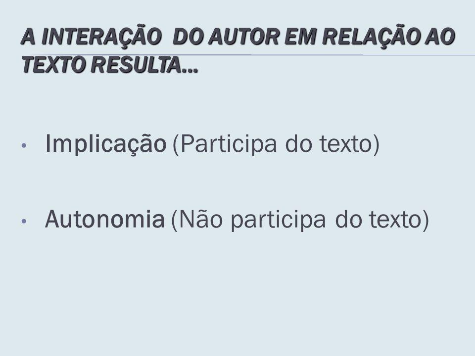 A INTERAÇÃO DO AUTOR EM RELAÇÃO AO TEXTO RESULTA...