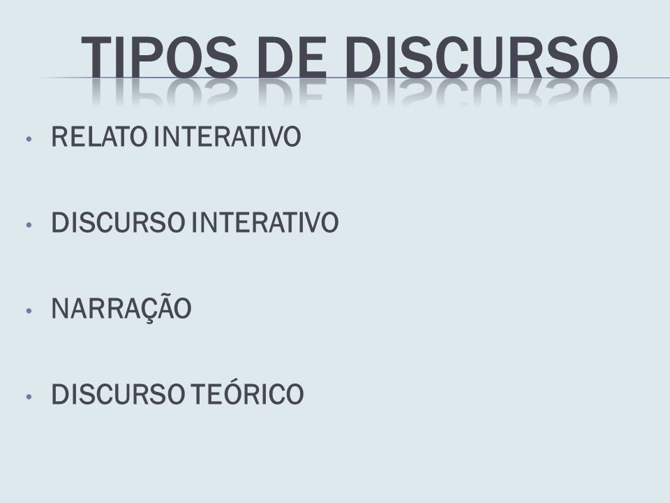 Tipos de discurso RELATO INTERATIVO DISCURSO INTERATIVO NARRAÇÃO