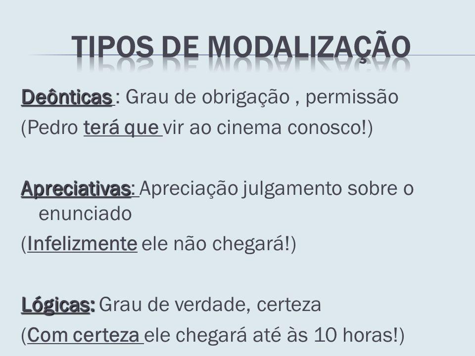 TIPOS DE MODALIZAÇÃO