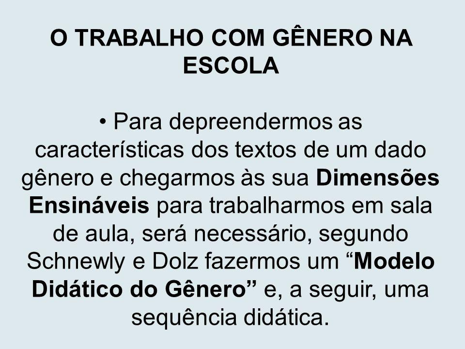 O TRABALHO COM GÊNERO NA ESCOLA