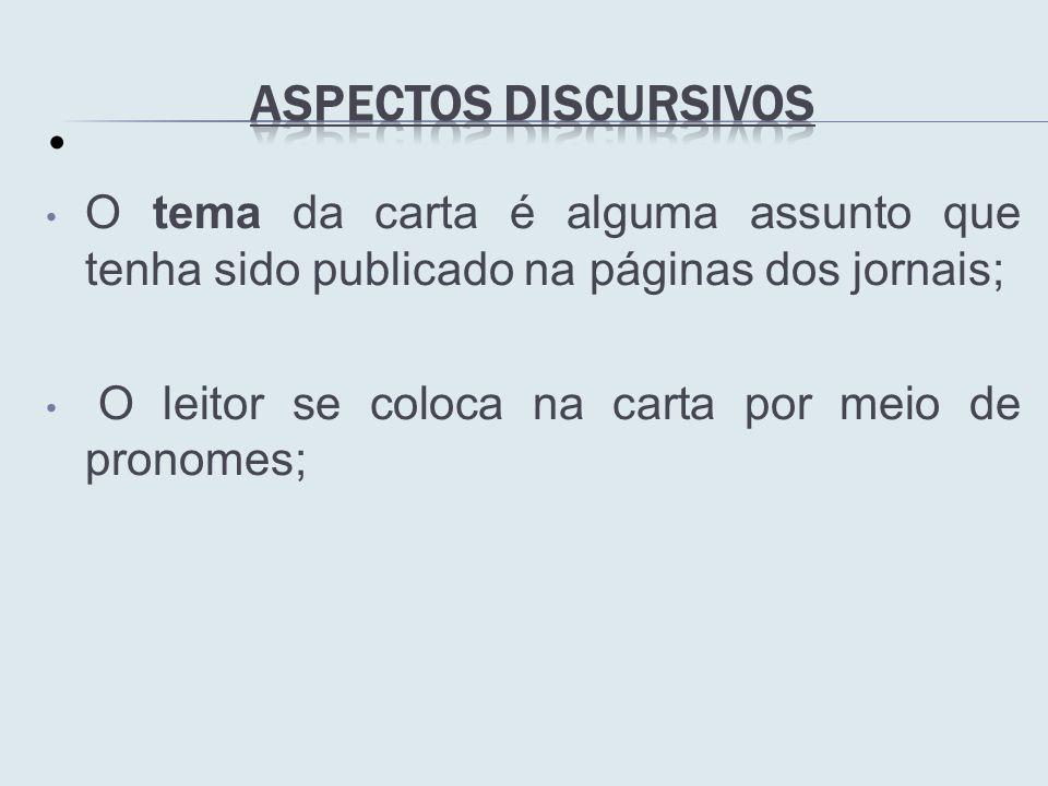 Aspectos Discursivos O tema da carta é alguma assunto que tenha sido publicado na páginas dos jornais;