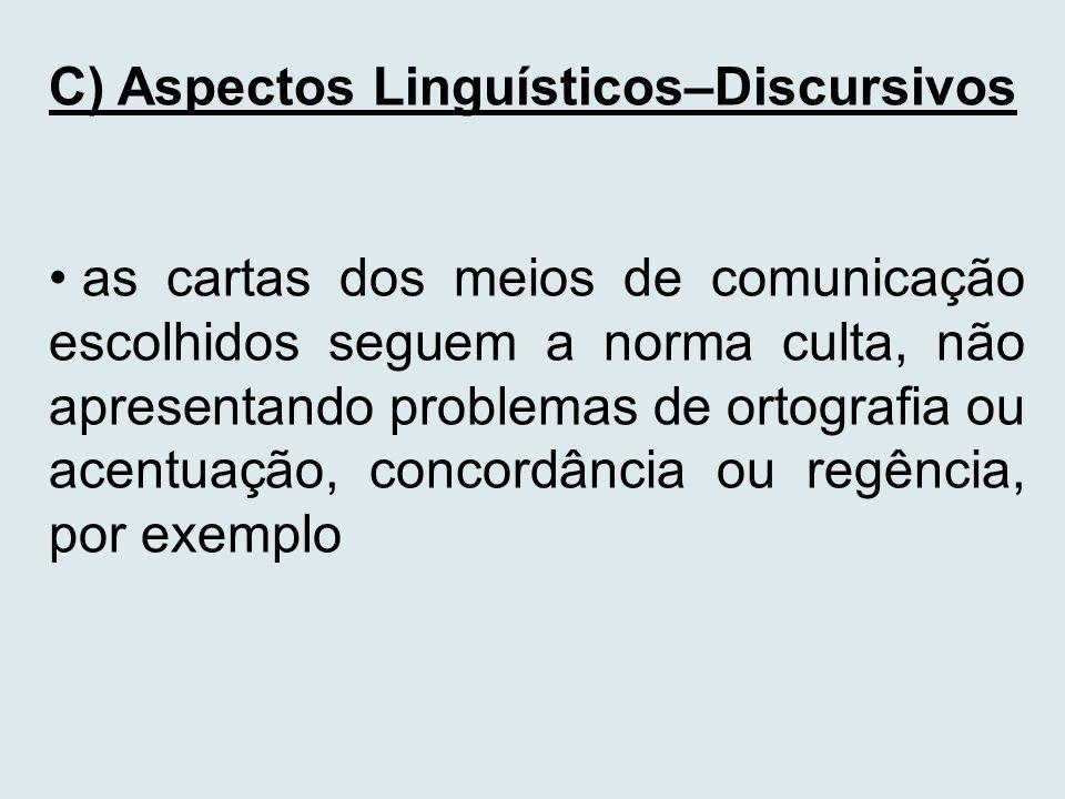 C) Aspectos Linguísticos–Discursivos