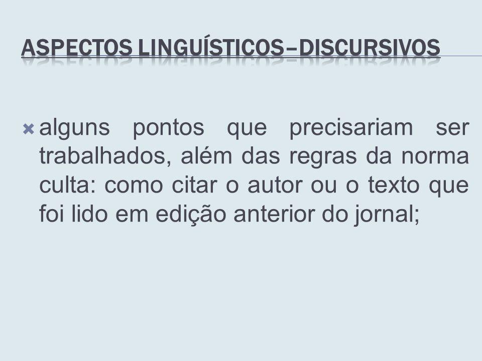Aspectos Linguísticos–Discursivos