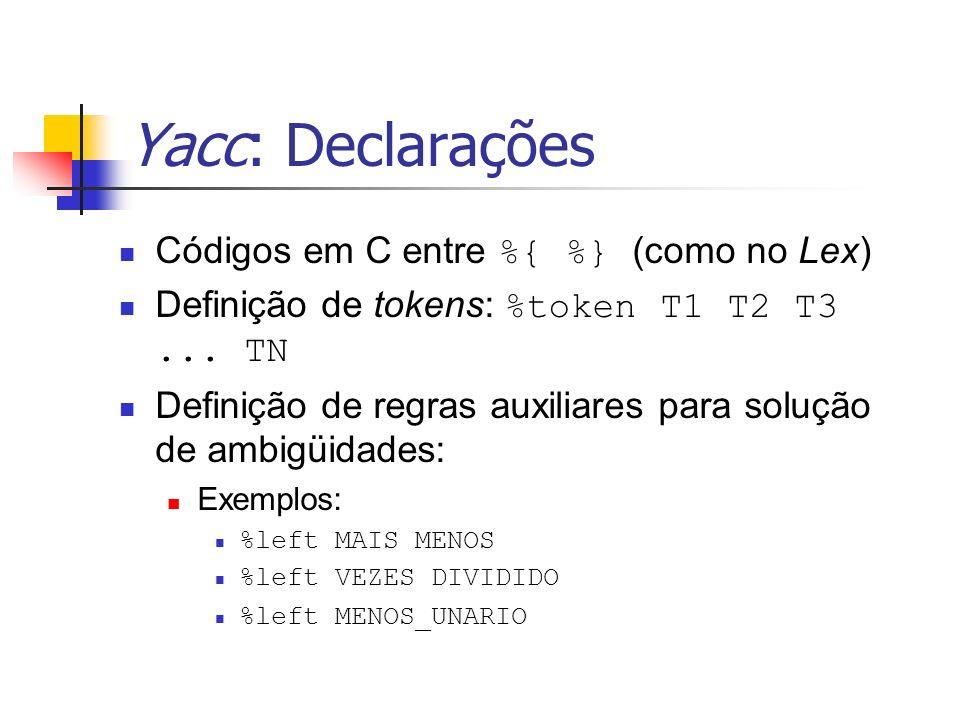 Yacc: Declarações Códigos em C entre %{ %} (como no Lex)