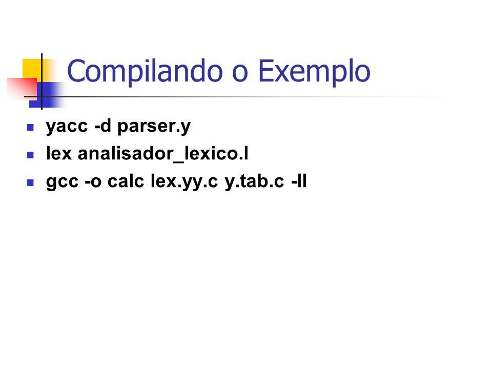 Compilando o Exemplo yacc -d parser.y lex analisador_lexico.l
