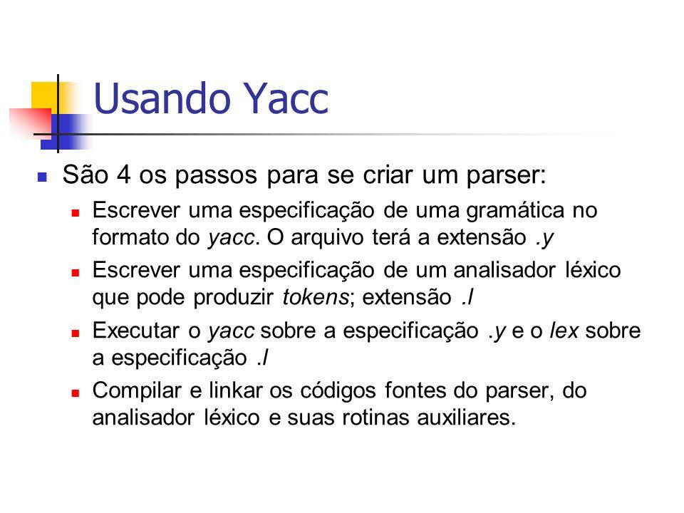 Usando Yacc São 4 os passos para se criar um parser: