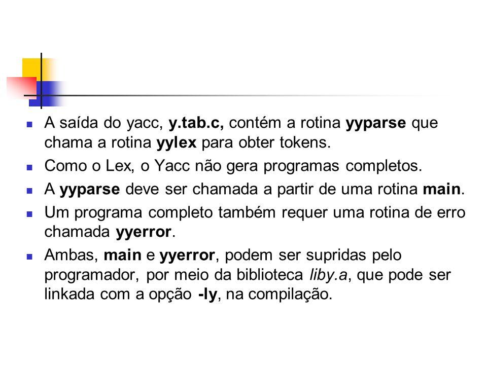 A saída do yacc, y.tab.c, contém a rotina yyparse que chama a rotina yylex para obter tokens.