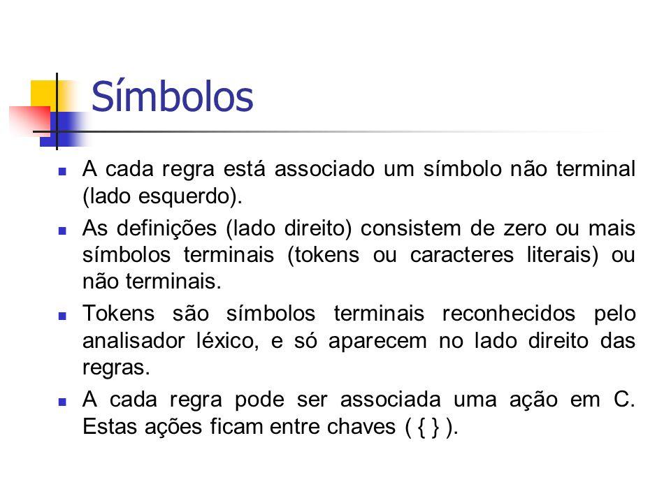 Símbolos A cada regra está associado um símbolo não terminal (lado esquerdo).