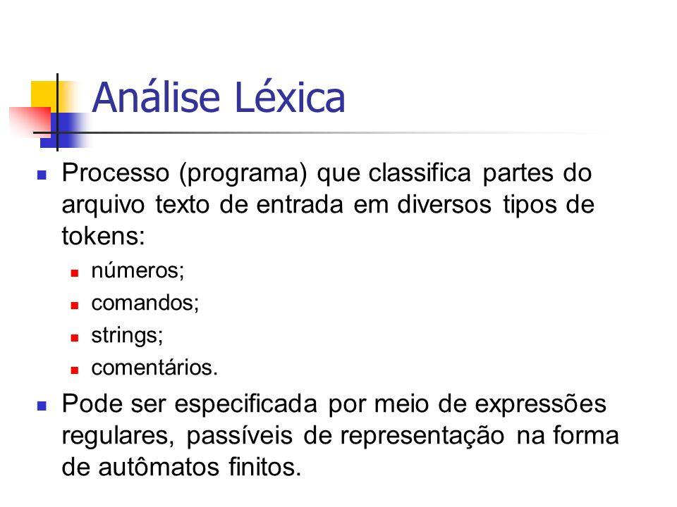Análise Léxica Processo (programa) que classifica partes do arquivo texto de entrada em diversos tipos de tokens: