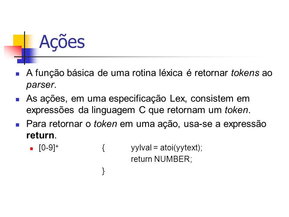 Ações A função básica de uma rotina léxica é retornar tokens ao parser.