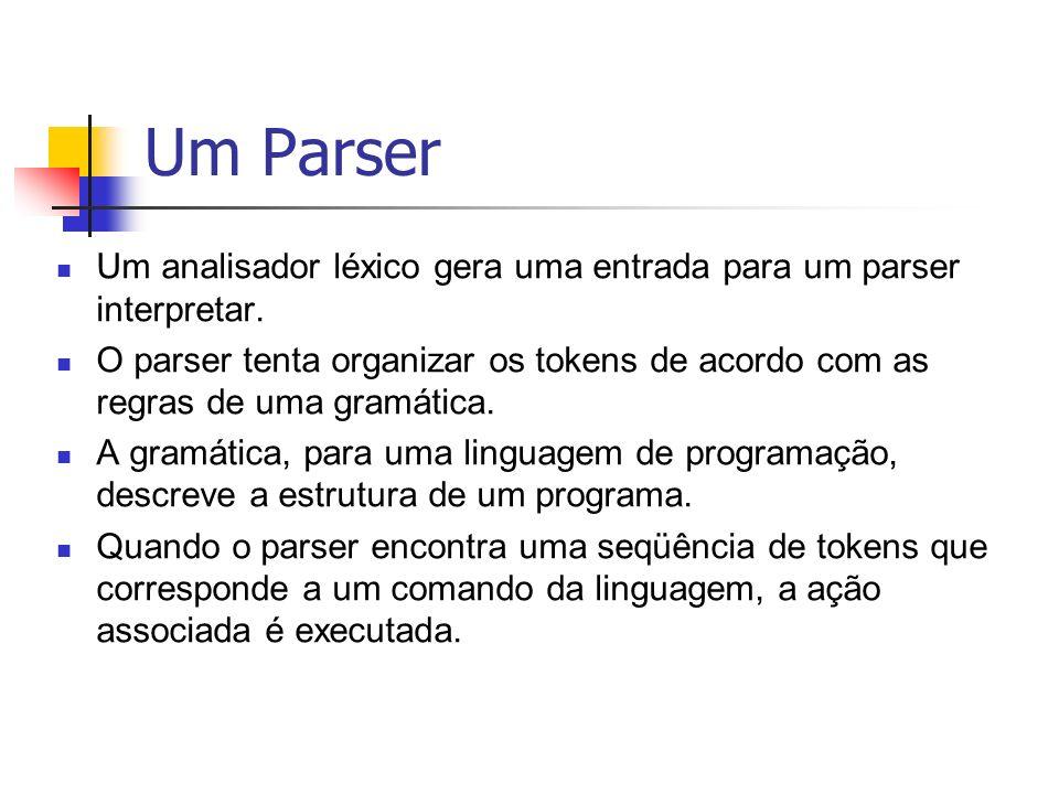 Um Parser Um analisador léxico gera uma entrada para um parser interpretar.
