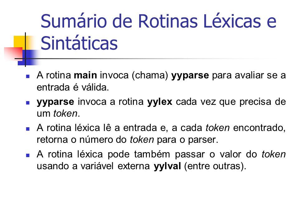 Sumário de Rotinas Léxicas e Sintáticas