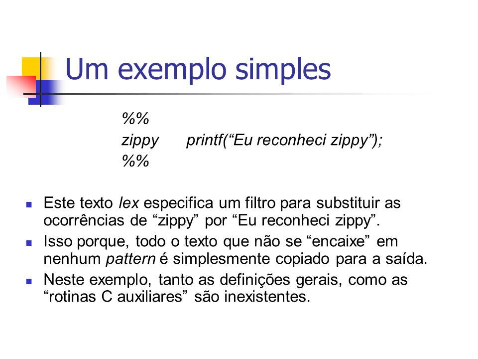 Um exemplo simples zippy printf( Eu reconheci zippy );