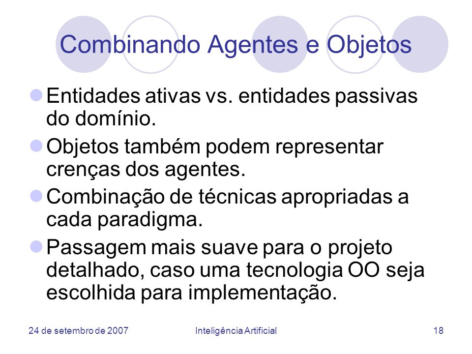 Combinando Agentes e Objetos