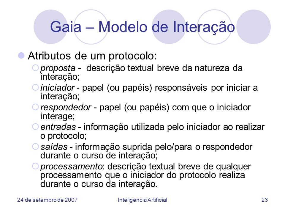 Gaia – Modelo de Interação