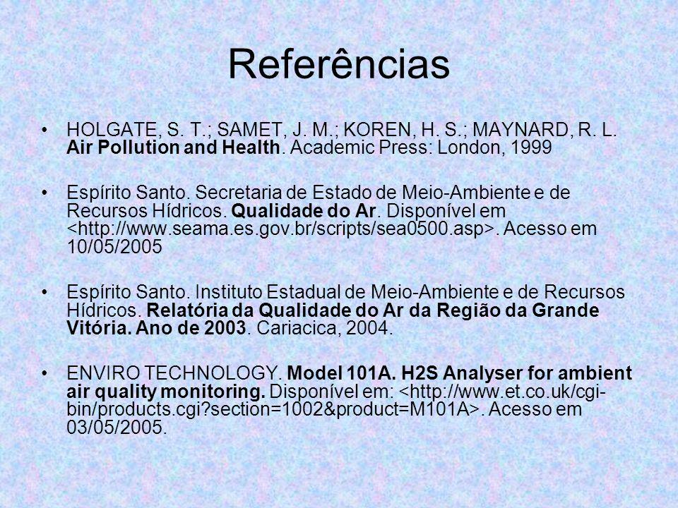 Referências HOLGATE, S. T.; SAMET, J. M.; KOREN, H. S.; MAYNARD, R. L. Air Pollution and Health. Academic Press: London, 1999.