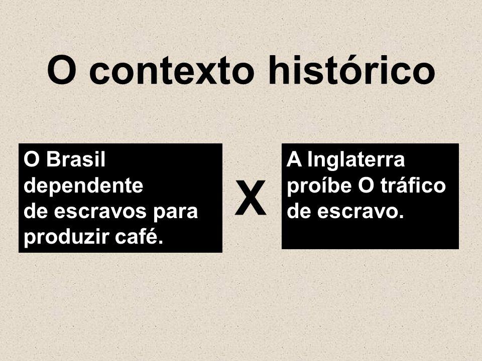 Χ O contexto histórico O Brasil dependente de escravos para
