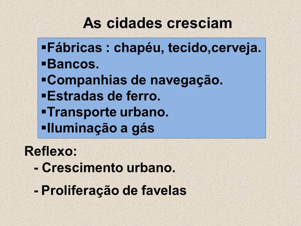 As cidades cresciam Fábricas : chapéu, tecido,cerveja. Bancos.