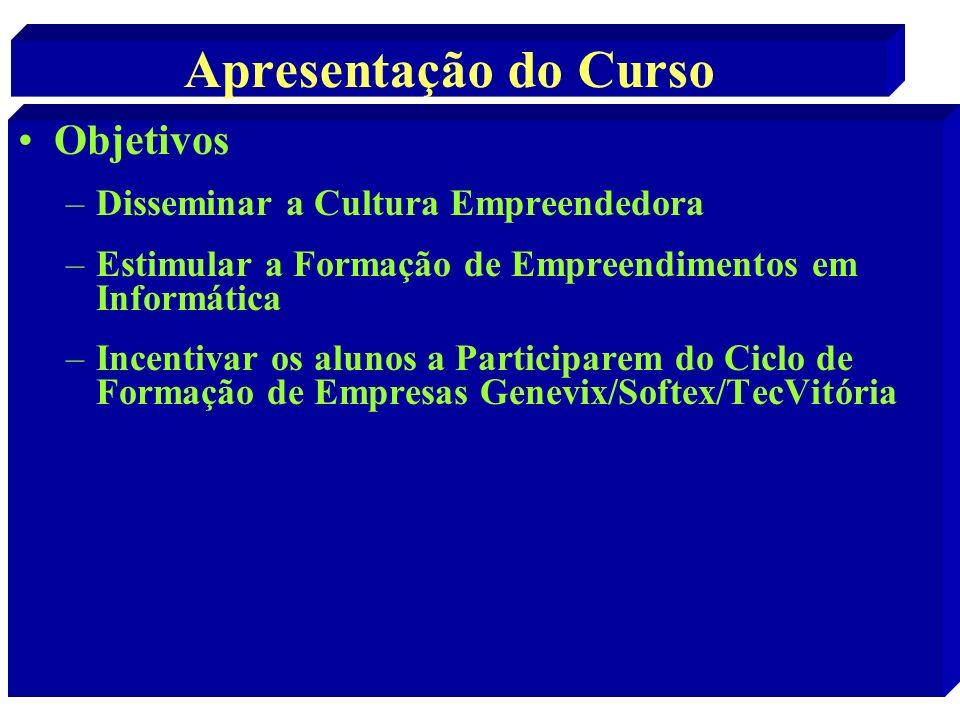 Apresentação do Curso Objetivos Disseminar a Cultura Empreendedora