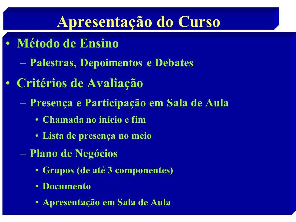 Apresentação do Curso Método de Ensino Critérios de Avaliação