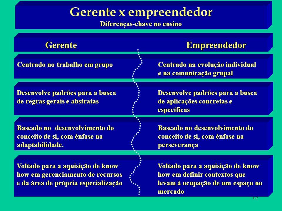 Gerente x empreendedor Diferenças-chave no ensino