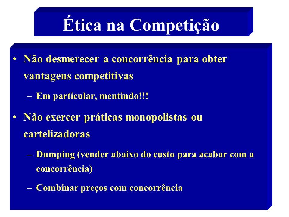 Ética na Competição Não desmerecer a concorrência para obter vantagens competitivas. Em particular, mentindo!!!