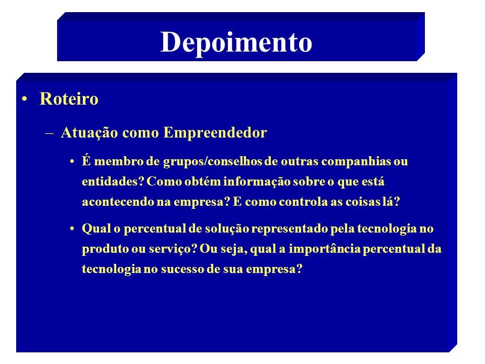 Depoimento Roteiro Atuação como Empreendedor