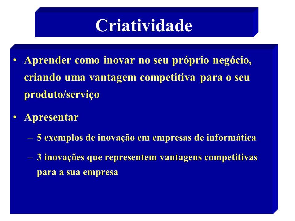 Criatividade Aprender como inovar no seu próprio negócio, criando uma vantagem competitiva para o seu produto/serviço.